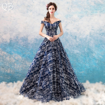 Dark Blue Ball Gown Cap Sleeve Sequins Tulle Vintage Luxury Long Evening Dresses Bride Banquet Party Prom Dress XK254