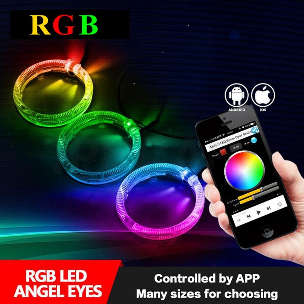 2pcs 2.5inch hid Bixenon projector lens led angel eyes shrouds kit Bluetooth APP Control RGB LED Angel Eyes Color-changing mask mp620 mp622 mp625 projector color wheel mp620 mp622 mp625