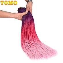 TOMO маленькие цветные Сенегальские скрученные вязанные крючком косички 24 дюйма 30 прядей синтетические волосы для косички Омбре вязанные крючком косички