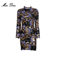 2017 NEW Arrival Winter Sequined Purple Black Gold Dress Runway Dress Bodycon Celebrity Club Party Vestido