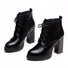 New Fashion Lace Up Women Boots Pointed Toe Square High Heels Western Style Ankle Boots Fashion Lady Temperament Shoes CH-B0003 2019 women fashion design pointed toe lace up gladiator boots cut out rope up high heel ankle boots western style street shoes