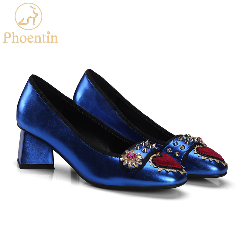Phoentin crystal flower women pumps new 2018 heart shape decoration rivet shoes genuine leather inside shoes women heels FT298Phoentin crystal flower women pumps new 2018 heart shape decoration rivet shoes genuine leather inside shoes women heels FT298