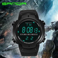 2017 SANDA Brand Men Sports Watches Fashion Casual Wristwatches Multifunctional LED Digital Military Watch 50M Dive
