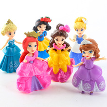 New 6pcs/lot Play House Dress Up Action Figures Dolls Mermaid Cinderella Princess Snow White Sleeping Beauty Girl Toys Best Gift