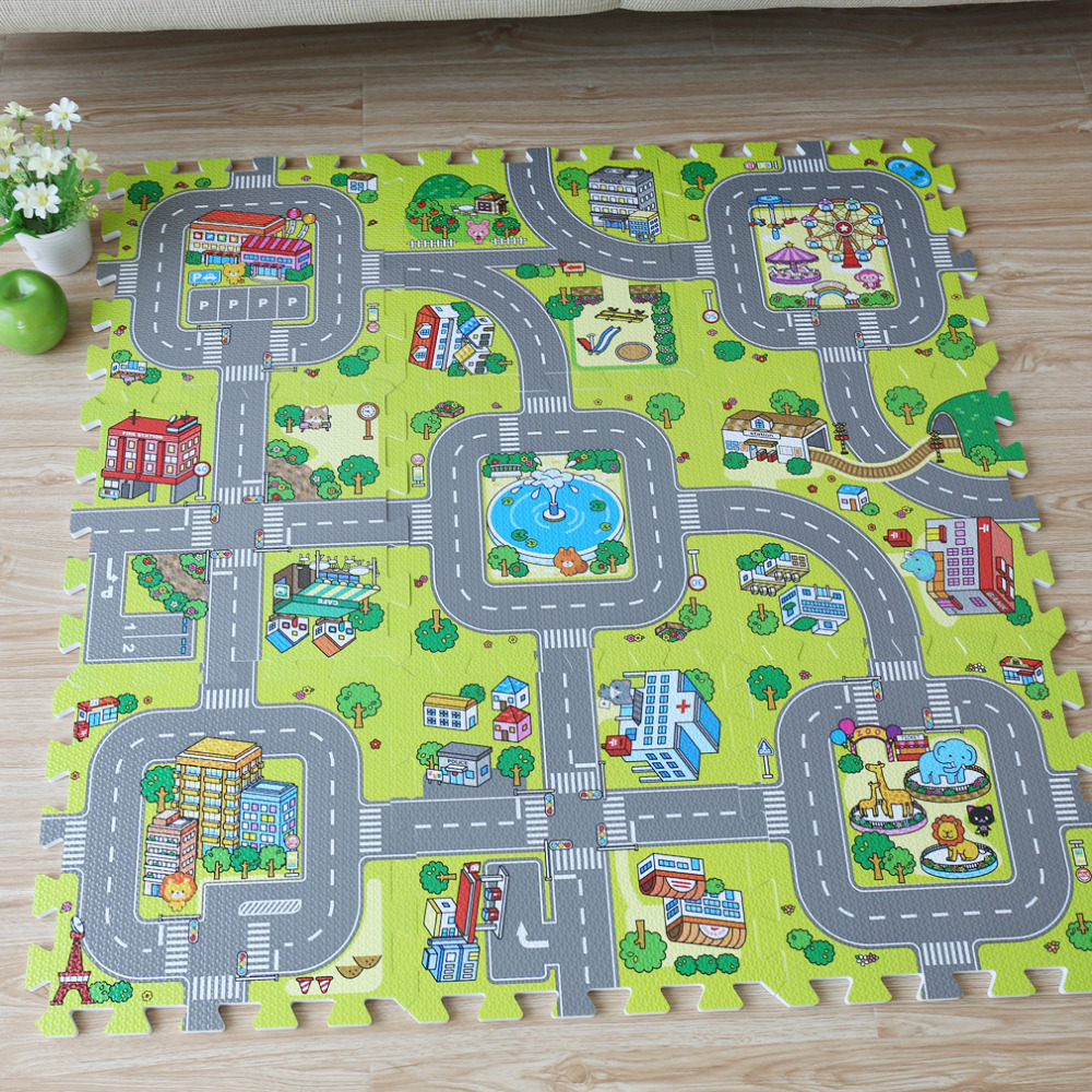 9pcs Baby EVA Foam Puzzle Play Floor Mat,City Road Education And Interlocking Tiles And Traffic Route Ground Pad (no Edge)