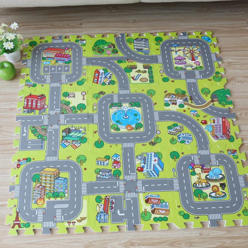 Nouveau! 9 pièces bébé EVA mousse puzzle jouer tapis de sol, éducation routière de la ville et carreaux de verrouillage et tapis de sol de route de la circulation (pas de bord)