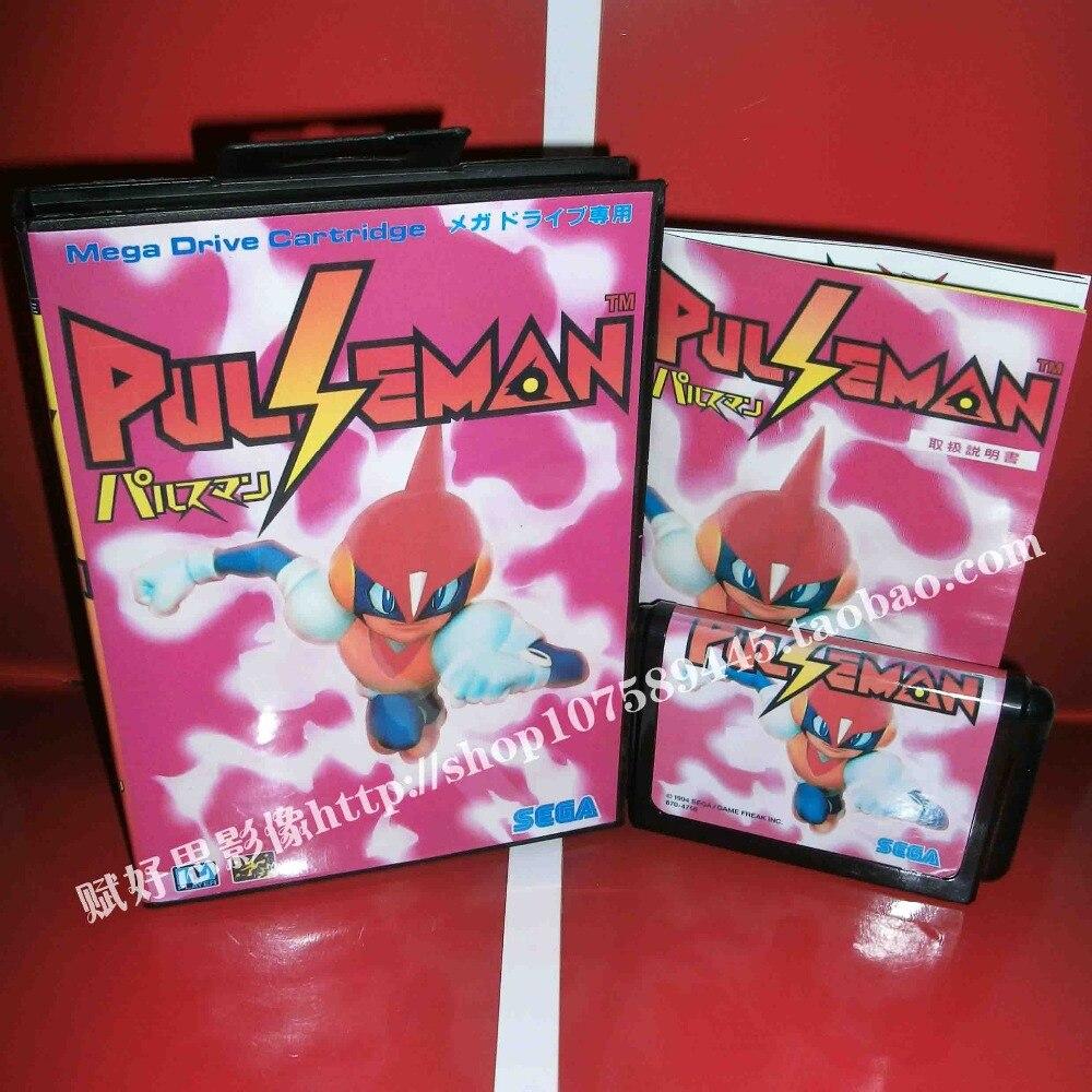 Pulseman Game cartridge with Box and Manual 16 bit MD card for Sega Mega Drive for Genesis
