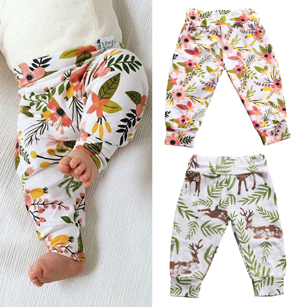 Home Toddler Infant Baby Boys Girls Cotton Cute Animals Pants Flower Trousers Pants Baby Girl emmababy toddler infant baby girl boy pants wrinkled cotton vintage bloomers trousers legging pants boby clothing
