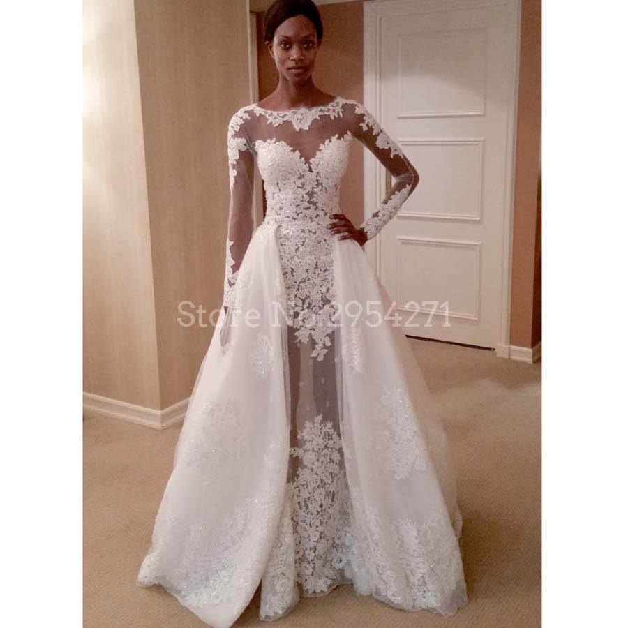 Africa mermaid wedding dresses with detachable skirt long sleeves africa mermaid wedding dresses with detachable skirt long sleeves boat neck lace appliques bridal gowns for black girl in wedding dresses from weddings ombrellifo Choice Image