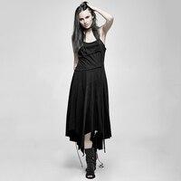 Punk Black Irregular Sexy Backless Summer Dress For Women Black Sleeveless Casual O Neck Long Dress