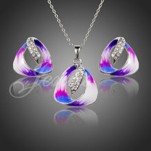 Jenia White Gold Color Rhinestone Oil Painting Pattern Triangle Stud Earrings and Necklace Jewelry Set XS094
