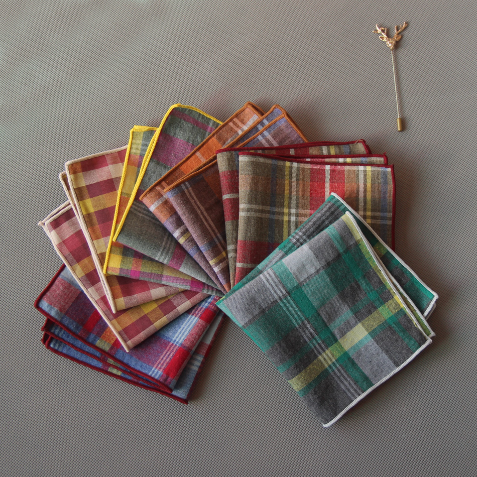Mantieqingway Plaid Pocket Square Mens Handkerchiefs For Wedding Fashion Men's Business Suit Pocket Towel Ladies Hankies