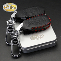 SNCN Zinc Alloy Car Key Chain Clip Rings Super Slim Genuine Leather Key Bag Holder Cover