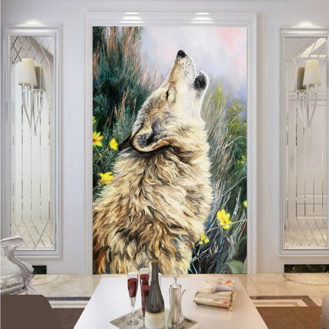 Custom Photo Wallpaper Howling Wolf Painting Mural Living Room Hotel Shopping Mall Office Home Decoration