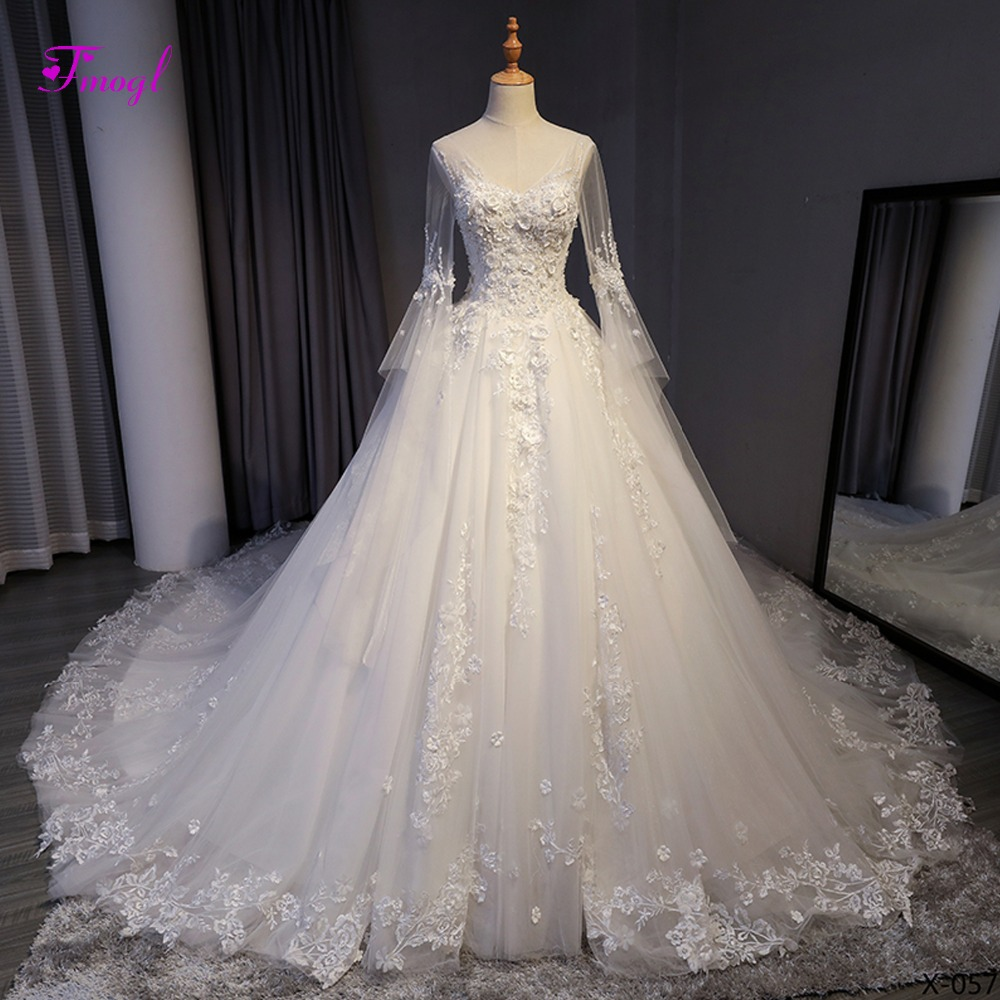 Fmogl Charming V-neck Beaded Lace Up Chapel Train A-Line Wedding Dresses 2020 Appliques Long Sleeve Bridal Gown Vestido de Noiva