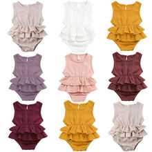 2019 Infant Baby Girl Sleeveless Romper Cotton Linen Ruffled One-Piece Jumpsuit Playsuit Outfits 0-24M