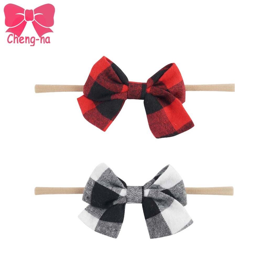 2Pcs/lot Red Black White Cotton Plaid Nylon Headband For Girls Soft Cotton Bow Elastic Headbands Newborn Hair Accessories