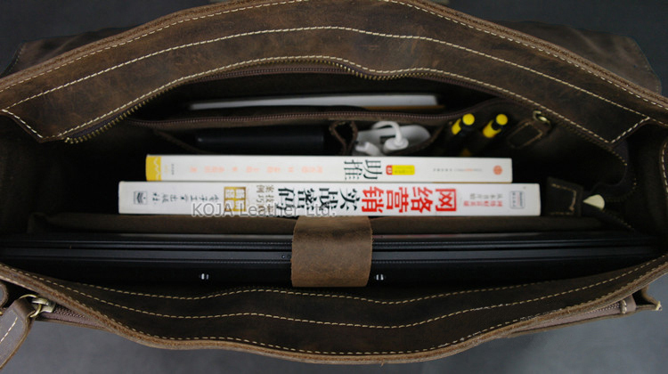 Vintage Crazy Horse Leather Men Briefcase Laptop Bag Work Business Bag Genuine Leather Briefcase Men Shoulder Bag Crossbody bag 6