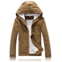 Горячие мужчины зимняя мода ватные куртки с капюшоном хлопка-ватник теплый пуховик съемный шлем