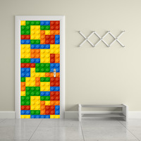 Building Blocks Children LEGO Door Wall Stickers for Kids Rooms Decorations Creative Self Adhesive Refurbished Door Stickers