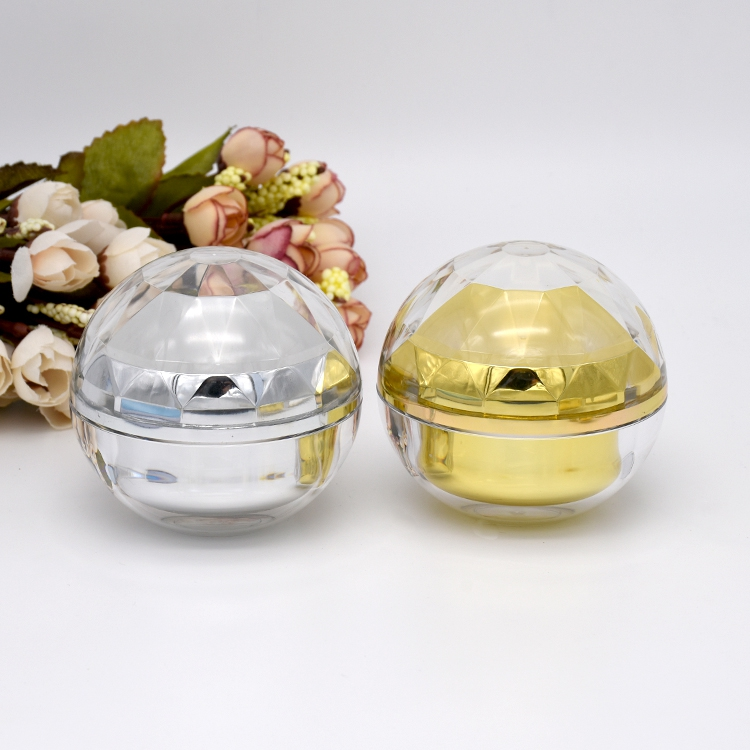 15g glänsande silver / glänsande guld akrylkula form krämflaska - Hudvårdsverktyg