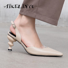 AIKELINYU 2019 Genuine Leather Women Sandals Strange Style Heels Pointed Toe Office Ladies Summer Shoes Woman Pure Color Pumps