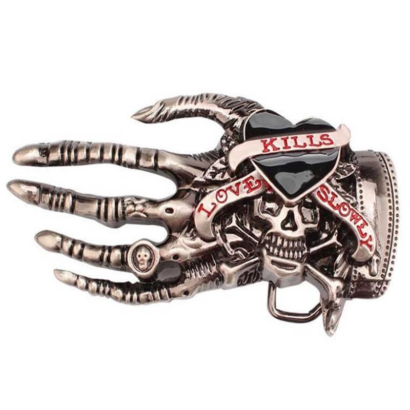 Moda erkek kemeri kafatası el toka İskelet el kemik punk rock aşk kills kafatası kemer pu deri hip hop kemerleri
