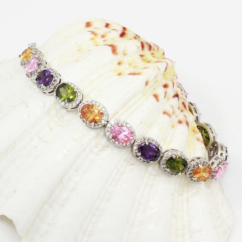 HotAmethyst Kunzite Peridot Hermosa Perfect Party Jewelry Colorful 14Pcs Oval 925 Sterling Silver Bracelet 7'' Long Pretty GIFT