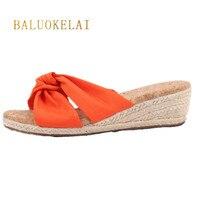Phụ nữ Dép Dép Mùa Hè Mới Orange Chiffon Dép Sandals Nhà Giày Gai Dây Wedge Gỗ Mềm Gót Mẫu Bãi Biển SandalsP-002