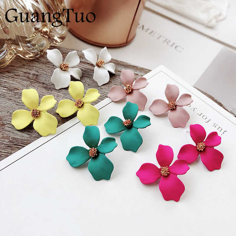 New Design Sweet Jewelry Spray Paint Stud Earring With Flower Earrings Statement Trendy Brincos for Girls Gift Pendientes EK842