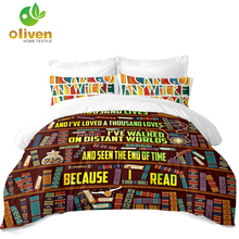 Cartoon Bookshelf Painted Bedding Set Colorful Books Letter Print Duvet Cover King Queen Bed Pillowcase Home Decor D45