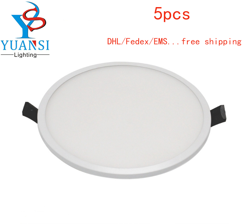 5PCS Led Panel Light 5W 8W 16W 22W 30W Led Panel Downlight,Ultra Slim 4014SMD Round/Square Led Ceiling Recessed Light AC85-265V 1195mm 145mm led panel light 21 8w dc24v input