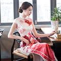 TIC-TEC women cheongsam long qipao chinese traditional dress oriental dresses red flower print evening elegant clothes P2878