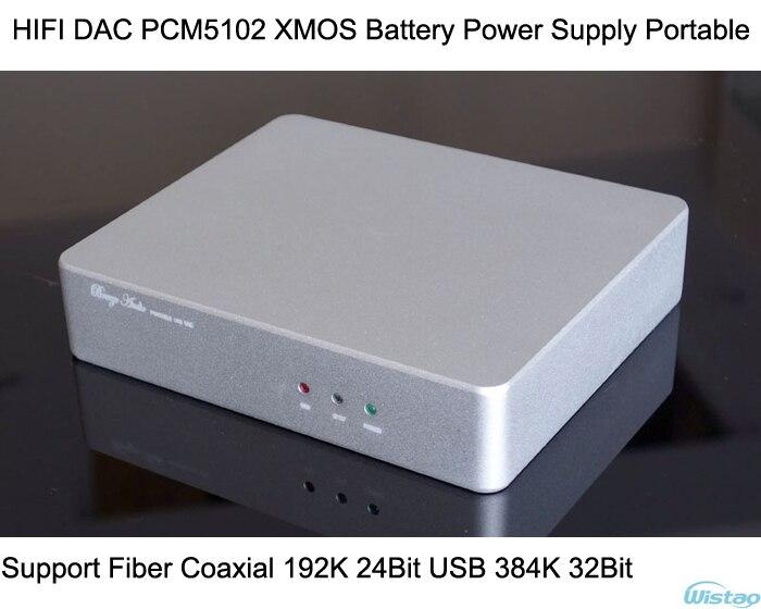 Décodeur HIFI PCM5102 DAC XMOS batterie Portable Support Fiber coaxiale 192 KHz 24Bit USB 384 KHz 32Bit livraison gratuite