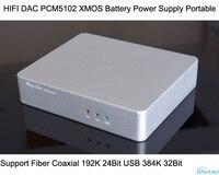 HIFI декодер PCM5102 ЦАП XMOS Батарея Портативный Поддержка Волокно коаксиальный 192 кГц 24bit USB 384 кГц 32bit Бесплатная доставка