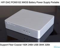 HIFI Decoder PCM5102 DAC XMOS Battery Portable Support Fiber Coaxial 192KHz 24Bit USB 384KHz 32Bit Free Shipping