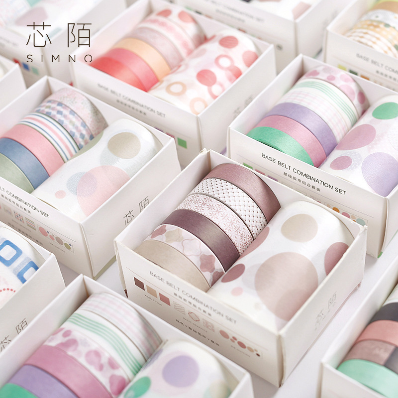 7pcs/pack Creative Dot Line Basic Geometry Washi Tape Adhesive Tape Diy Scrapbooking Sticker Label Masking Tape