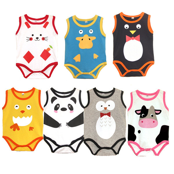 Baby Bodysuits Sling Sleeveless Short Sleeved Cotton Baby Jumpsuit Baby Clothes Cartoon Baby Girls Bodysuits 70cm wide 3 section portable massage table aluminum facial spa bed tattoo w free carry case salan furniture spa bed tattoo chair
