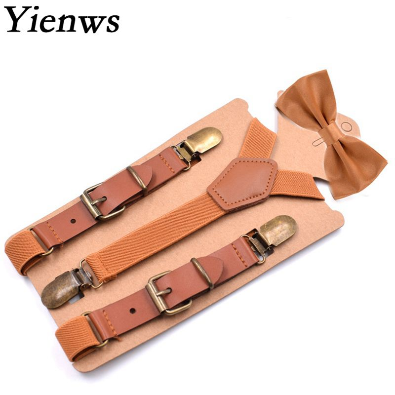 Yienws Bow Tie Suspenders For Boys Brown Vintage Bowtie Braces For Children Baby Kids Suspenders 75cm YiA056