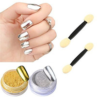 MISMXC 2 Box Mirror Powder Gold Silver Pigment Nail Glitter Nail Art Chrome Powder With Matching