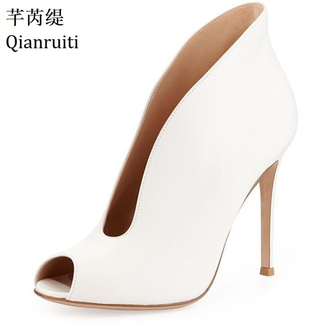 Qianruiti Zapatos Mujer Deep V Designer Women Pumps Casual Street Style High  Heels Shoes Peep Toe Thin Heels Women Shoes bfbf53d02a56