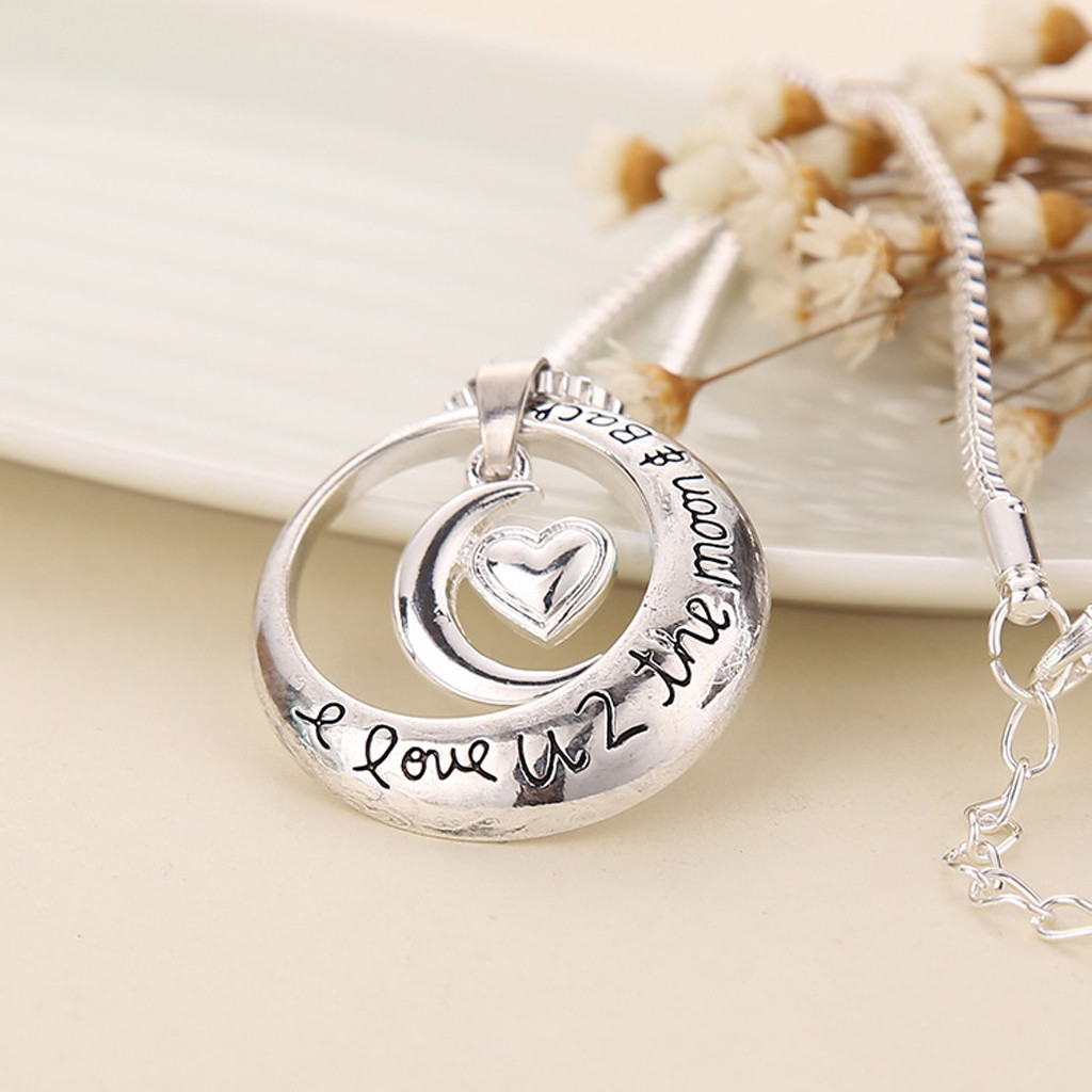 Necklace women I Love you toThe Moon and Back silver Heart Shaped Moon Necklace Valentine's Day Gife collares de moda 2019 @XL(China)