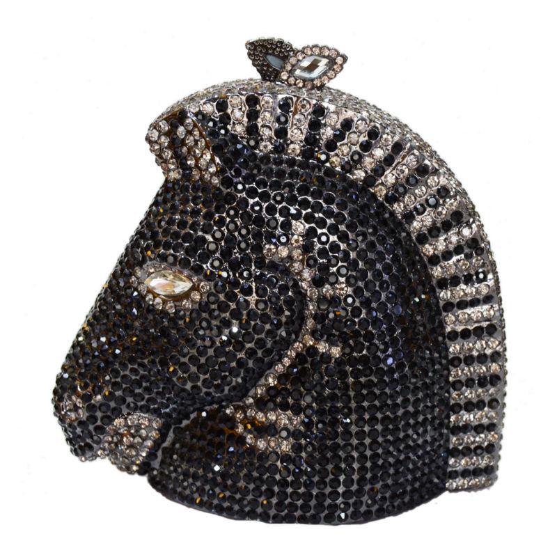 black Bag Cristal Argent blue Bag Bag Sac Tête Pochette Soirée Banquet Cheval Scintillant Bag Dames En Artisanat Diamant Luxe De Evening Or Gold c Parti 88163 7BHwf