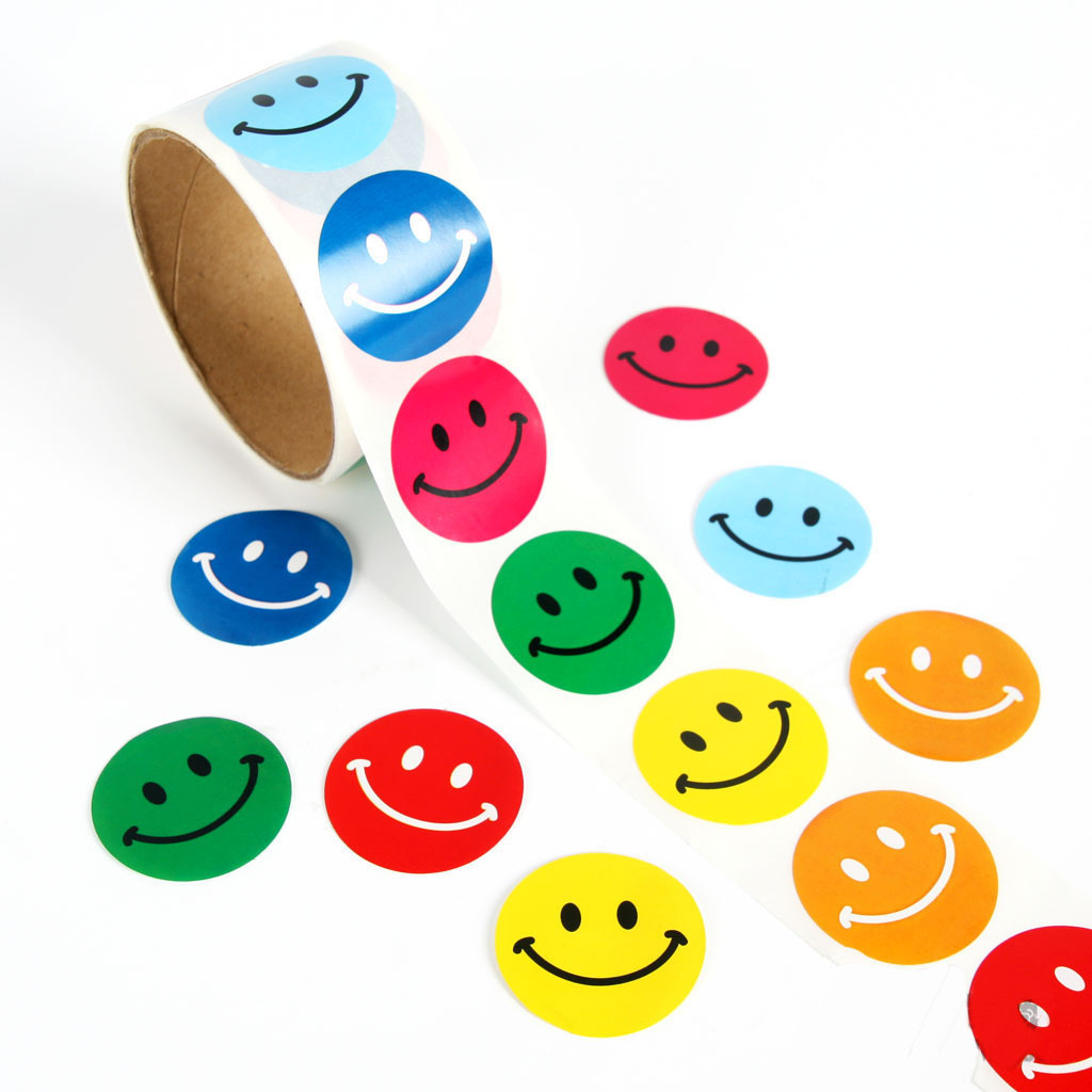 One Roll Creative Adhesive Tape With 100pcs Smiley Expression Stickers For Children Cute School Stationery Stickers