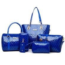 6 PCS/Set 2016 newest bright scale pattern composite bag. Shoulder bag, handbag, messenger bag, clutch, purse, key cases