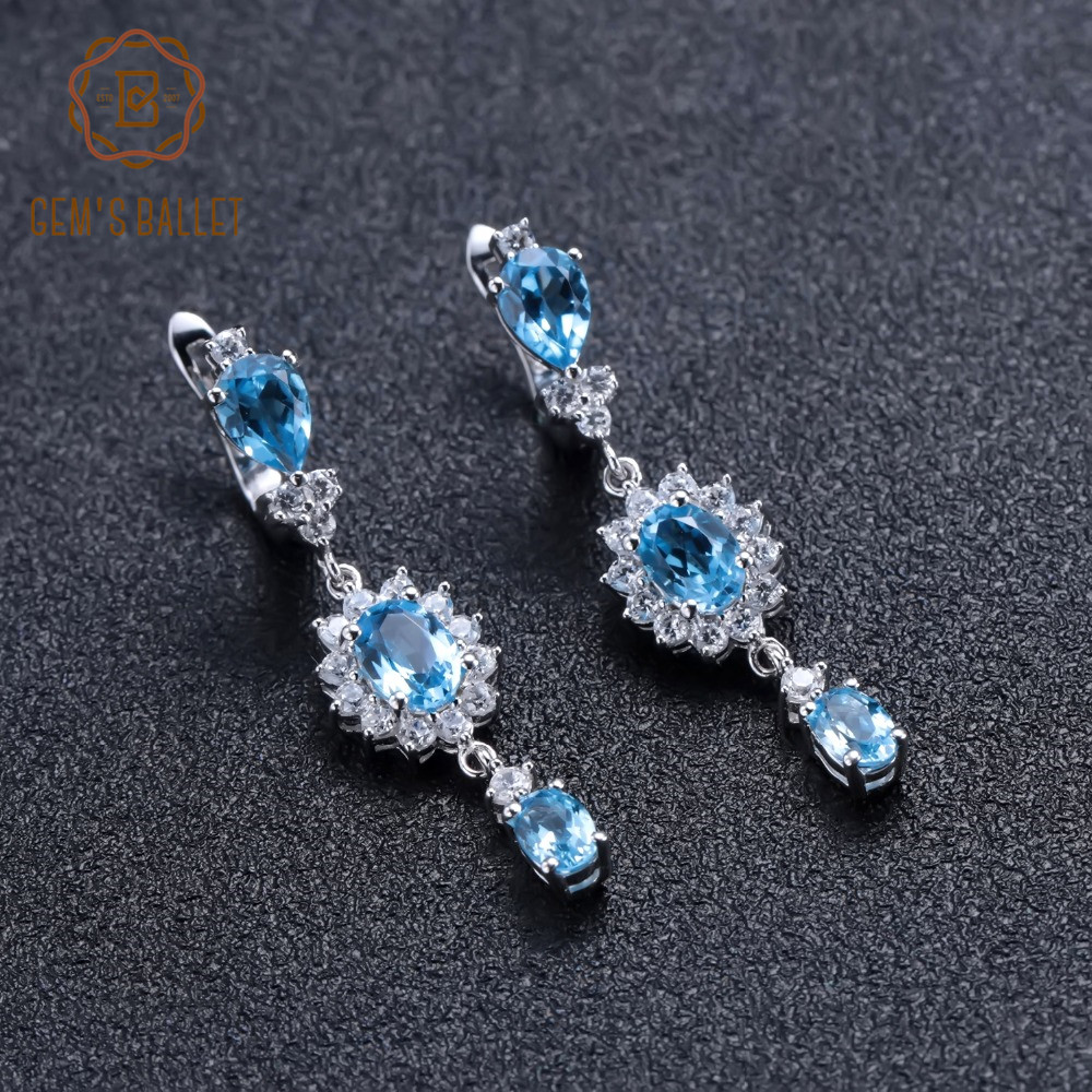GEM S BALLET 4 88Ct Natural Swiss Blue Topaz Gemstone Drop Earrings 925 Sterling Silver Wedding