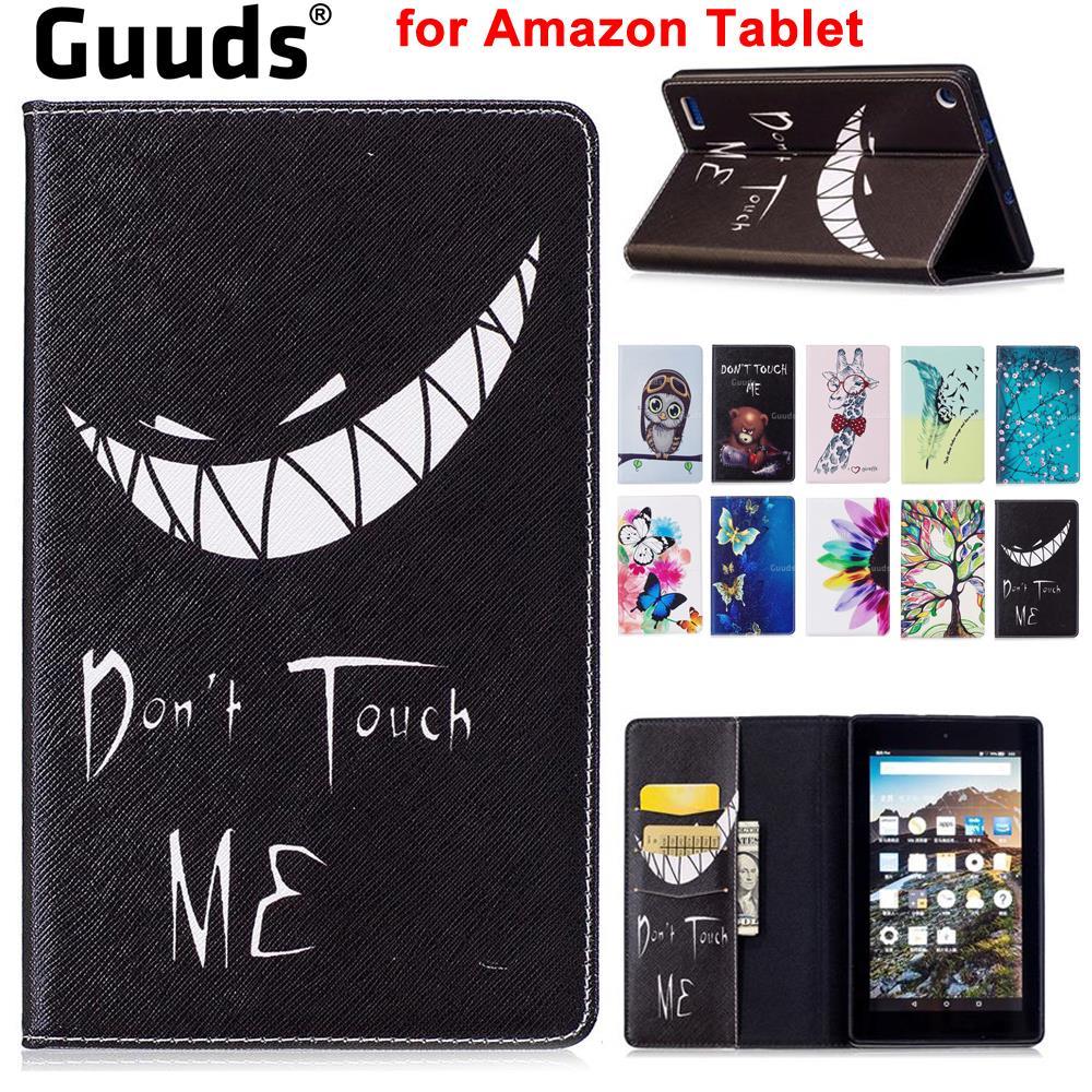GUUDS pour Amazon tablette Fire HD 8 10 Kindle 7 2015 2017 étui en cuir étui portefeuille en cuir pour Amazon Kindle Voyage
