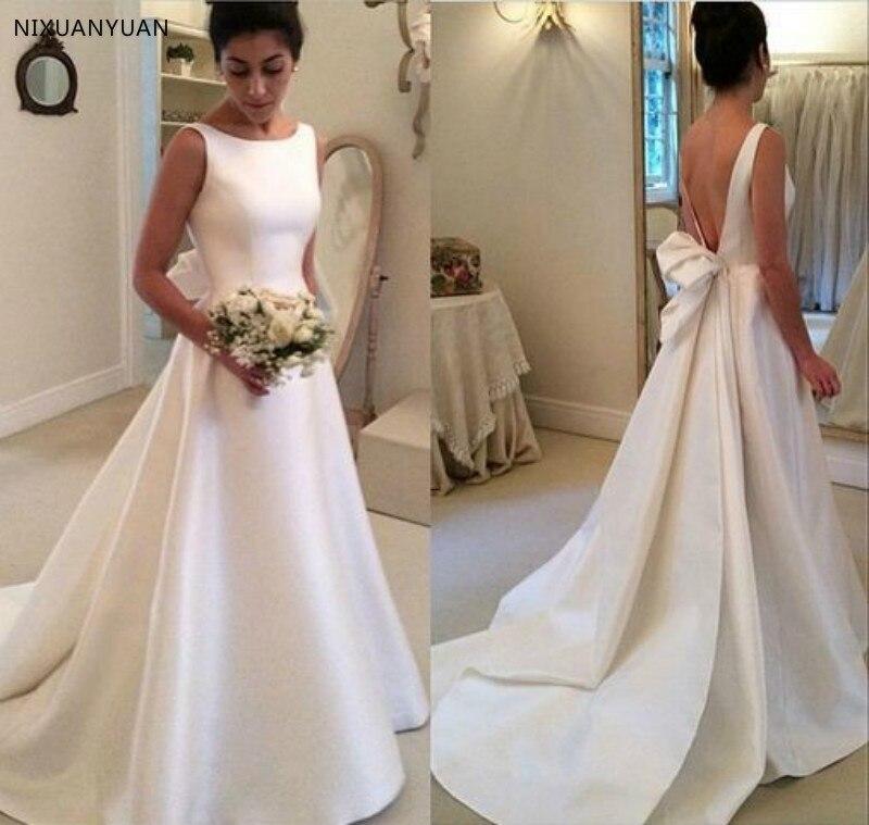Backless Vestido De Noiva 2020 Muslim Wedding Dresses A-line Satin Bow Boho Dubai Arabic Wedding Gown Bridal Dresses