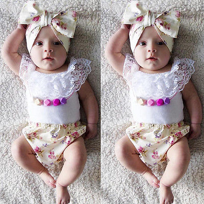 2016 Infant Newborn Baby Girl Lace T-shirt+Floral Bottoms PP Pants+Bow Headband Outfits Clothes AU 0-3Y