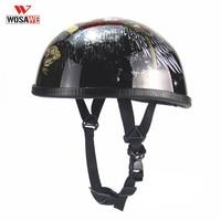 Motorcycle Helmet Motos Half Face Motocross PU Leather Matte Black Vintage EPS Lining Breathable Motocross Helmet For Men Women